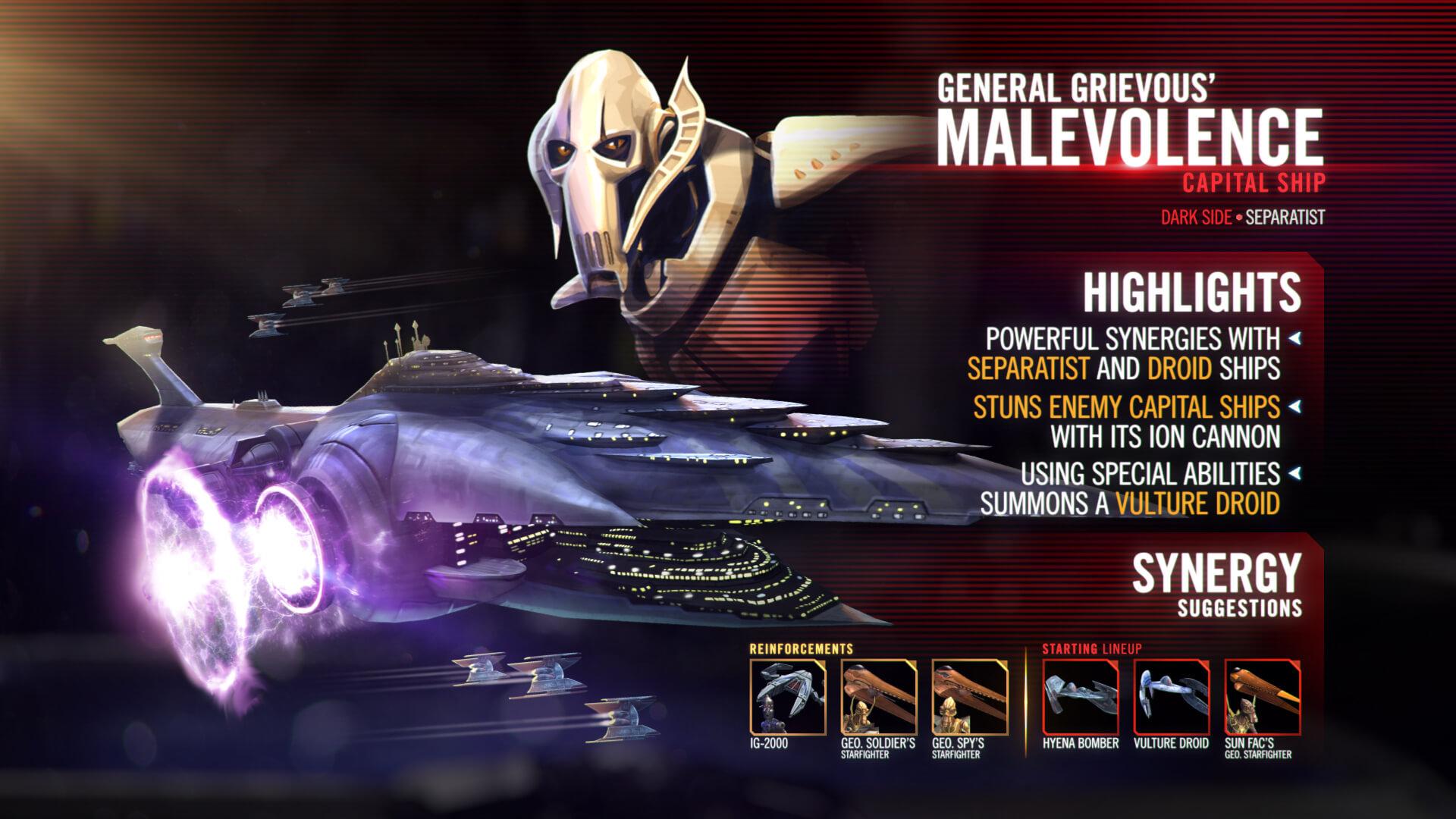 El Malevolencia es la segunda mejor nave de SWGOH